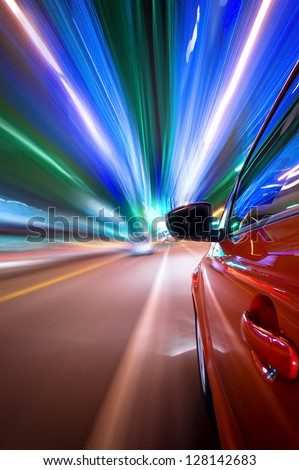 Night driving in city-Fast vehicle moving on Motion blur background