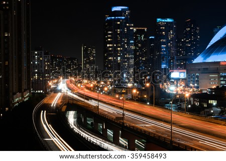 Night highway, Toronto
