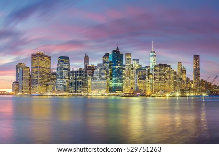 Night Lights of Famous Manhattan Skylines, New York City, USA
