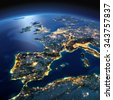 Night Planet Earth with precise detailed relief and city lights illuminated by moonlight. Part of Europe, the Mediterranean Sea. Elements of this image furnished by NASA - stock photo
