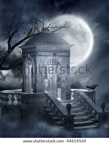 Night scenery with a cemetery mausoleum