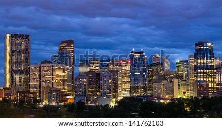 Night shot of Calgary downtown.