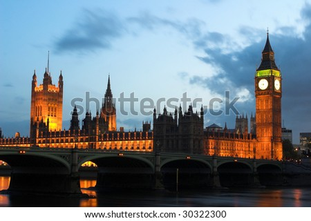 Night shot of Houses of Parliament