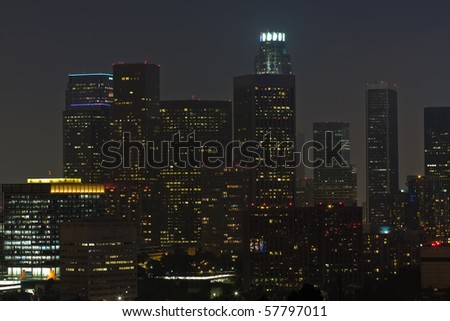 Night time view of downtown Los Angeles
