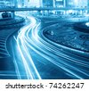 night traffic in prosperous shanghai, China. - stock photo