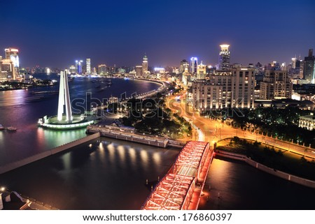 night view at shanghai , beautiful huangpu river and the bund, China
