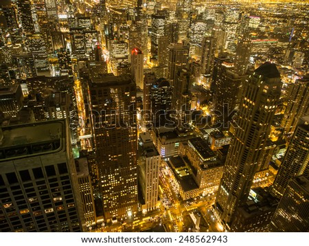 night view of Chicago, Illinois, USA