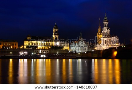 Night view of Dresden city. Germany