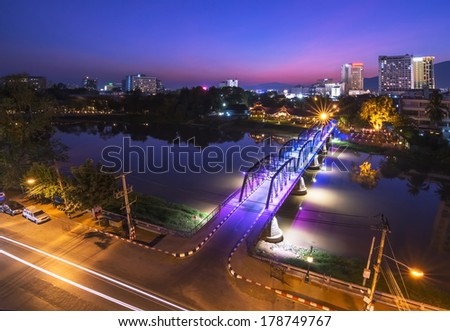 Night View of iron Bridge, Chiang mai, Thailand, Long Exposure