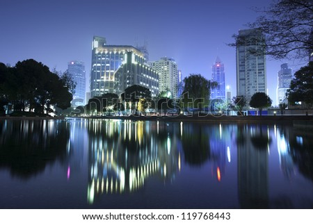 night view of Shanghai city downtown area,close to Xintiandi which famous for bar