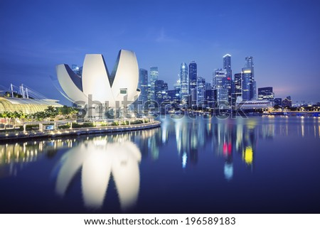 Night view of the Central Business District of Singapore.