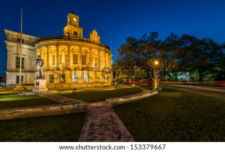 Night view of the Coral Gables City Hall in Miracle Mile.