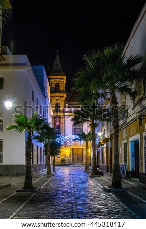 night view of the gourmet street in the spanish city cadiz calle de la virgen