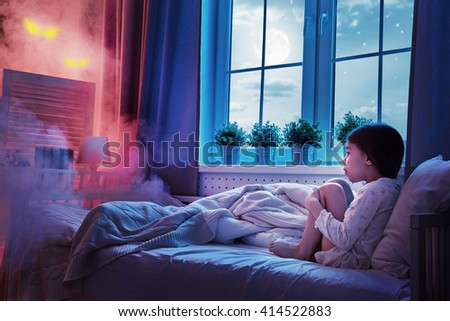 Cute Child Girl Sitting Window Looking Stock Photo