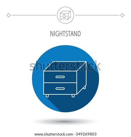 Nightstand icon. Bedroom furniture sign. Blue flat circle button. Linear icon with shadow.