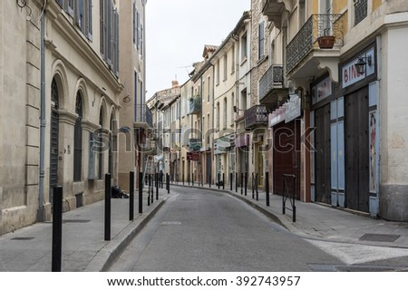 empty street downtown marseilles stock photo 167104508 shutterstock. Black Bedroom Furniture Sets. Home Design Ideas