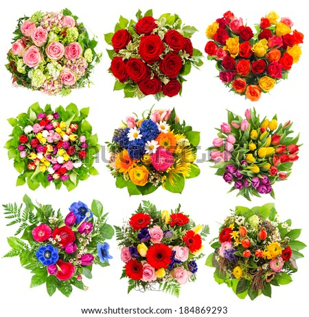 nine colorful flowers bouquet for Birthday, Wedding, Mothers Day ...