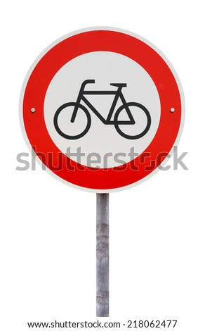 No cycling and no entry for bicycles traffic sign against white background