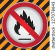 No Flammable or Non Burnable Prohibited Sign in Caution Zone Dark and Yellow Background - stock photo
