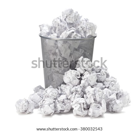No idea - Crumpled paper can recycle was thrown to metal basket bin. Overflowing waste paper in office garbage bin. Junk, wastepaper in rubbish isolated on white background with clip path