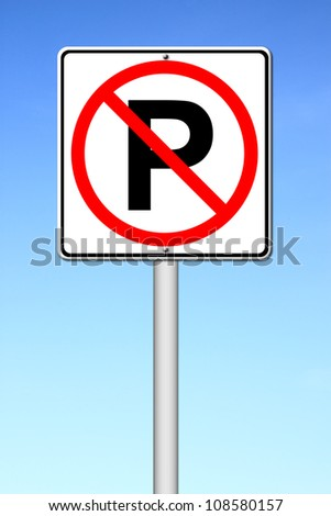 No parking sign over a blue sky