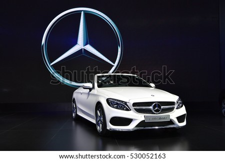 NONTHABURI - NOVEMBER 30:  Mercedes-Benz C 300 Cabriolet car on display at Thailand International Motor Expo 2016 on November 30, 2016 in Nonthaburi, Thailand.