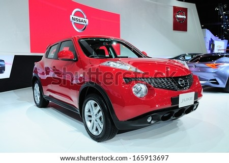 NONTHABURI - NOVEMBER 28:  The new Nissan JUKE, Cross over vehicle, on display at The 30th Thailand International Motor Expo on November 28, 2013 in Nonthaburi, Thailand.