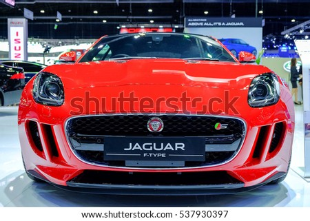 Nonthaburi-Thailand DEC 2 2016: Frontt of JAGUAR F-TYPE on display at Thailand International Motor Expo 2016 on DEC 2 2016 at IMPACT Challenger Muang Thong Thani.  Nonthaburi, Thailand