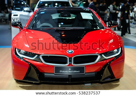 NONTHABURI, THAILAND - December 06: The BMW i8 (Photonic Red Edition) is on display at Thailand International Motor Expo 2016 on December 06, 2016 in Nonthaburi, Thailand.