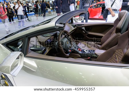 NONTHABURI, THAILAND - DECEMBER 1: The Lamborghini Huracan is on display at the 32nd Thailand International Motor Expo 2015 on December 1, 2015 in Nonthaburi, Thailand.