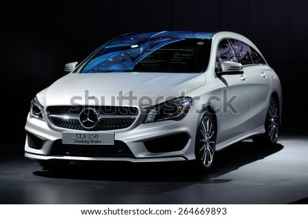 NONTHABURI, THAILAND - March 25: The Mercedes-Benz CLA 250 Shooting Brake AMG Sport is on display at The 36th Bangkok International Motor Show on March 25, 2015 in Nonthaburi, Thailand.