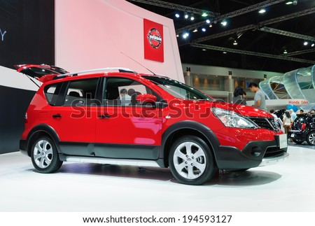 NONTHABURI, THAILAND - MARCH 31:The Nissan Livina is on display at the 35th Bangkok International Motor Show 2014 on March 31, 2014 in Nonthaburi, Thailand.