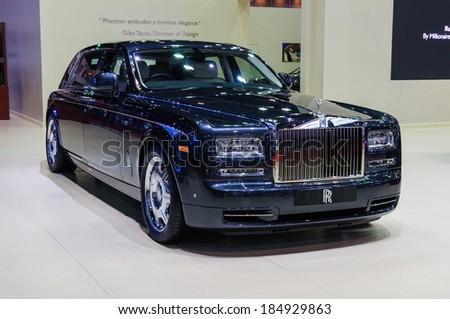 NONTHABURI, THAILAND - MARCH 31:The Rolls-Royce Phantom Extended Wheelbase is on display at the 35th Bangkok International Motor Show 2014 on March 31, 2014 in Nonthaburi, Thailand.