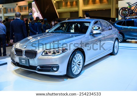 NONTHABURI, THAILAND - NOVEMBER 28: The BMW 525d is on display at the 31st Thailand International Motor Expo 2014 on November 28, 2014 in Nonthaburi, Thailand.