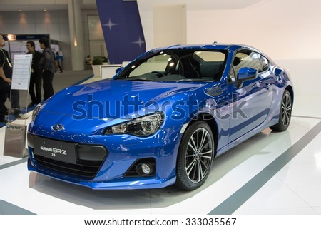NONTHABURI, THAILAND - NOVEMBER 28: The Subaru BRZ 2.0  is on display at the 31st Thailand International Motor Expo 2014 on November 28, 2014 in Nonthaburi, Thailand.