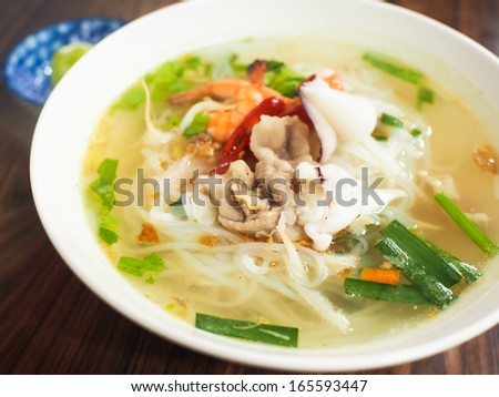 noodles soup with seafood