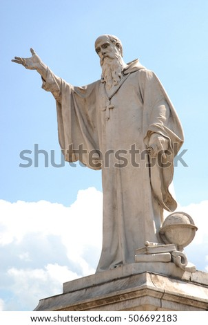 NORCIA, Italy - September 2006. Statue of St. Benedict is the plaza of St. Benedict (Piazza San Benedetto) in Norcia, Italy, the birthplace of the saint who was a founder of monasticism