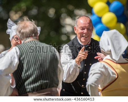 NORRKOPING, SWEDEN - JUNE 6: Folk dance during national day celebration on June 6, 2016 in Norrkoping. Norrkoping is a historic industrial town in Sweden.