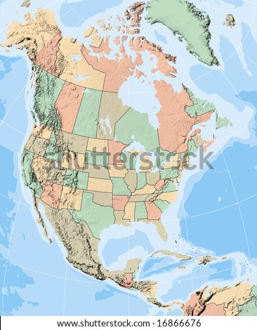 North America Map Showing Us States Stock Illustration - Us map showing states