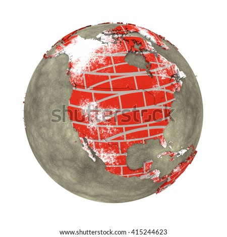 North America on brick wall model of planet Earth with continents made of red bricks and oceans of wet concrete. Concept of global construction. 3D illustration isolated on white background.