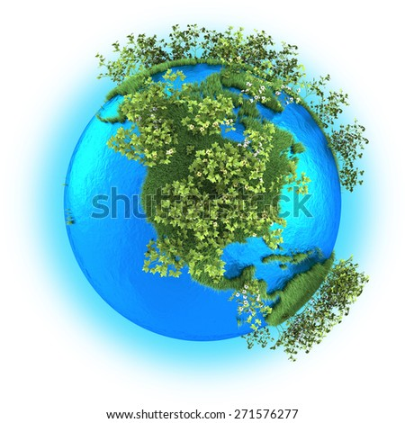 North America on grassy planet Earth with cotton isolated on white background
