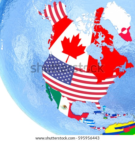 Political Map North America Each Country Stock Illustration