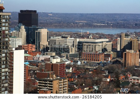North-american Downtown in cold  sunny day. Urban landscape of downtown Hamilton Ontario.