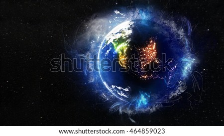 North American Night Lights & Planet Earth Globe 3D Illustration - Energetic Aura & Painting Artwork Effect (Map Elements of this image furnished by NASA)