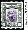 NORTH BORNEO - CIRCA 1947: Stamp printed in North Borneo showing a Borneon Orangutan which is scientifically known as Pongo pygmaeus, circa 1947. - stock