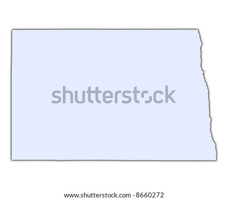 North Dakota (USA) light blue map with shadow. High resolution. Mercator projection.