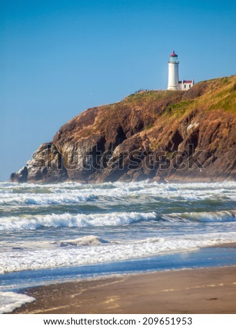 North Head Lighthouse in Viewed from Benson Beach on the Washington Coast USA