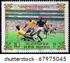 NORTH KOREA - CIRCA 1985:  A post stamp printed in North Korea, shows football players, devoted football world championship, series, circa 1985. - stock photo