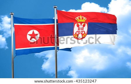 North Korea flag with Serbia flag, 3D rendering