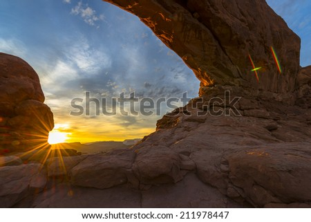 North Window light up by the rising sun Arches National Park